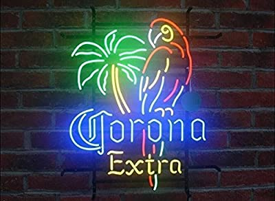 "Desung New 20""x16"" CORONA PARROT EXTRA PALM TREE Neon Sign Man Cave Signs Sports Bar Pub Beer Neon Lights Lamp Glass Neon Light KC08"