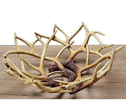 Art Reindeer Deer Antlers Organic Fruit Basket Bowl Artificial Decorative Gift Tray White Rack Drying Decor Fresh Large Storage Stand Plate Holder Shelf Vintage Round Display Container (Deer Classic)