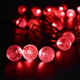 LED SopoTek Solar Outdoor String Lights 6Meters 19.7ft 30LED Red Crystal Ball Solar Powered Globe Fairy Lights for Garden Fence Path Landscape Decoration (30 LED Red)