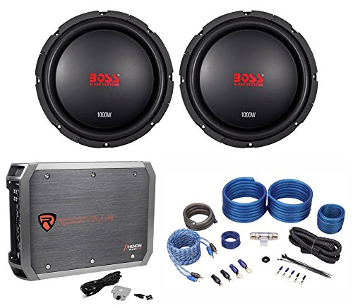 (2) Boss Audio CXX104DVC 10″ 2000 Watt Car Subwoofers+Mono Amplifier+Amp Kit