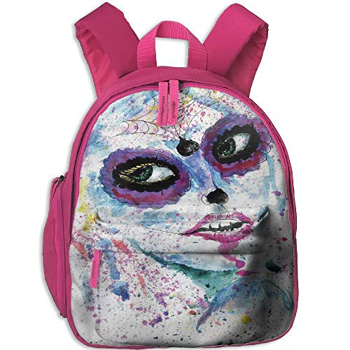 Haixia Kids' Boy's&Girl's Backpacks with Pocket Girls Grunge Halloween Lady with Sugar Skull Make Up Creepy Dead Face Gothic Woman Artsy Blue Purple