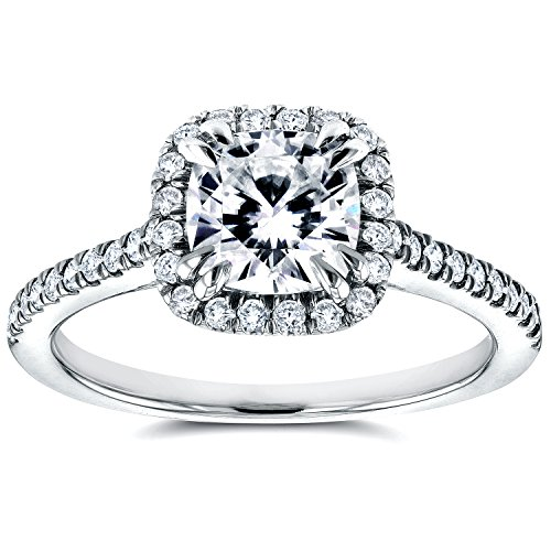 (Forever One DEF Moissanite & Cathedral Diamond Halo Ring 1 2/5 CTW 14K White Gold, Size 5, White Gold)