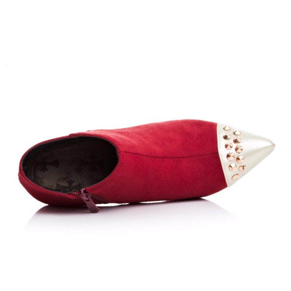 RFF-Damens's Schuhes Herbst und Größe Winter Stiefel mit Einem feinen Größe und und hohe hingewiesen - Hochhackige Stiefel ROT (Terry) 09bb82