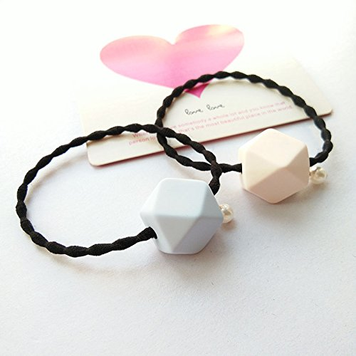Macaroon Simple (Korea genuine simple geometric cube candy-colored macaroons black hair ring rubber band hair accessories imported jewelry for women girl lady)