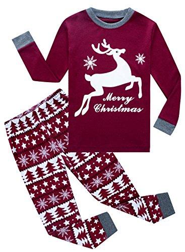 Family Feeling Little Girls Long Sleeve Christmas Pajamas Sets 100% Cotton Pyjamas Kids Pjs Size 6 Reindeer Christmas Pajamas