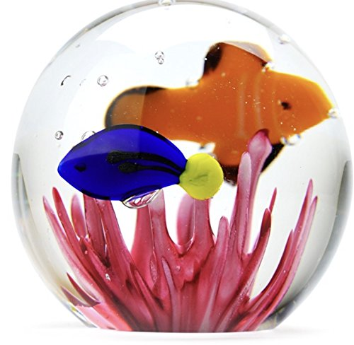 Tropical Fish Paperweight, Handmade Glass - Clownfish Blue Tang