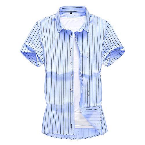 (INVACHI Men's Classic Casual Vertical Striped Short Sleeve Business Shirts Light Blue)