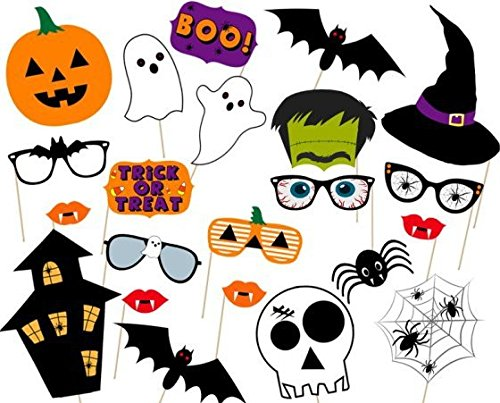 [USA-SALES] Halloween Photo Booth Props 22 pcs, Halloween decorations, Party favors,Attached to the stick NO DIY REQUIRED, only by USA Sales -