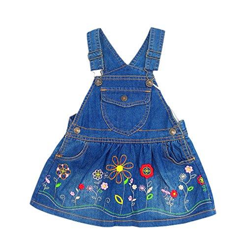 Kidscool Girls Embroidered Flower Bibs Jeans Overalls Dress,Blue,12-18 -