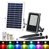 Solar RGB Flood lights, T-SUN 56 LED RGB Color Changing Outdoor Security Wall Light Waterproof IP65 Spotlight with Remote Control for Garden, Patio, Yard, Pool, Garage
