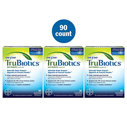 TruBiotics Daily Probiotic, 90 capsules - Gluten Free, Soy Free Digestive + Immune Health Support Supplement for Men and - 90 Capsules Daily