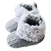Voberry Baby Premium Soft Sole Anti-Slip Warm Winter Infant Prewalker Toddler Button Snow Boots (0-6months(11CM), Gray)