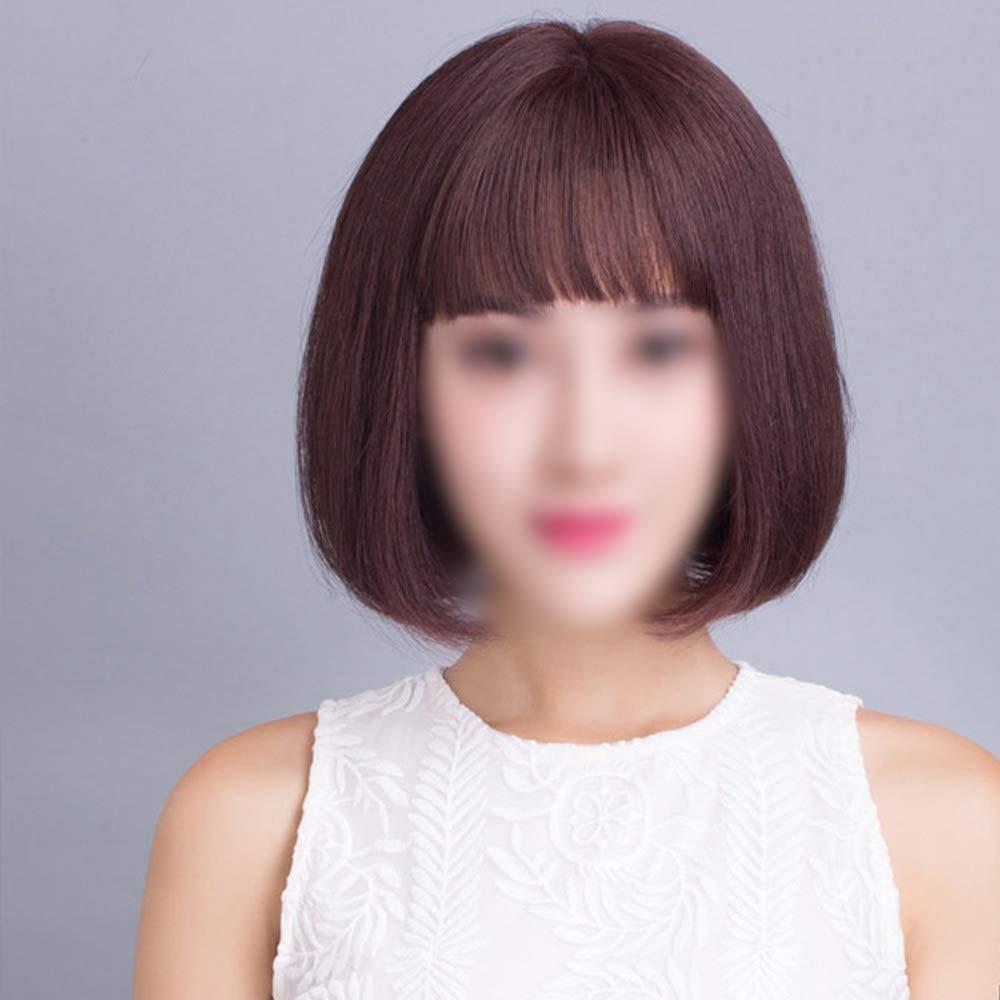 Yrattary 女性の短い髪本物の髪ボブかつらかつらかつらファッションかつら (Color : Hand-woven top heart - dark brown) B07QHHCYF3 Hand-woven top heart - dark brown