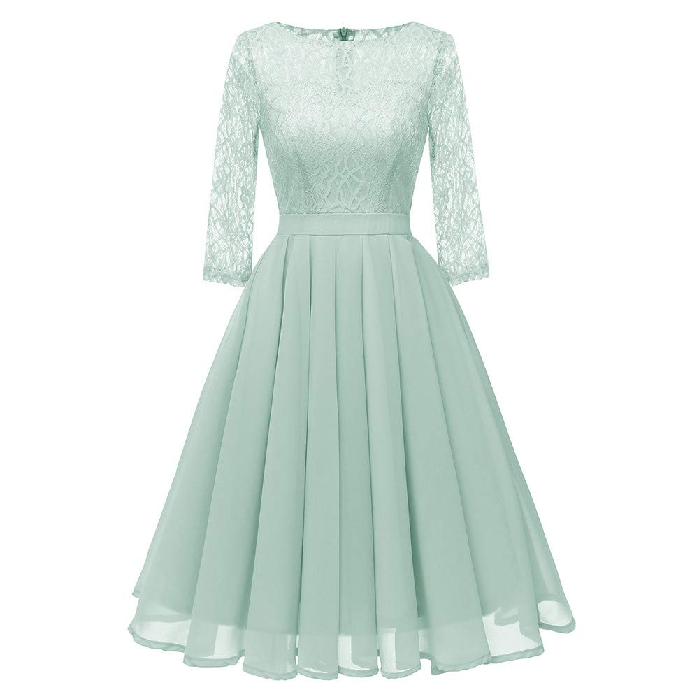 Happy Halloween,Sikye Women 3/4 Sleeve Floral Lace Princess Dress Retro Party Pleated A-line Dress,Mid-Calf (2XL, Green)