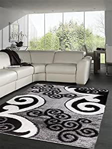 "Sweet Home Stores Casa Regina Shaggy Collection Contemporary Scrolls Design Shag Area Rug,  Grey,  7'10"" L x 9'10"" W"