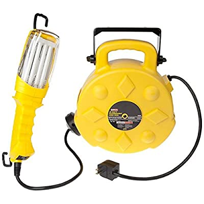 Bayco SL-8908 26-Watt Fluorescent Work Light with Tool Tap on 50-Foot Reel