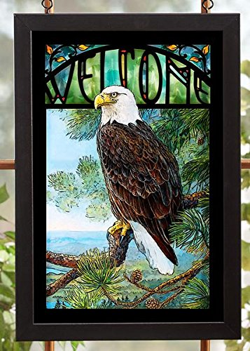 Wild Wings Welcome Bald Eagle Stained Glass Art by Susan Knowles-Jordan (Bald Stained Glass Eagle)