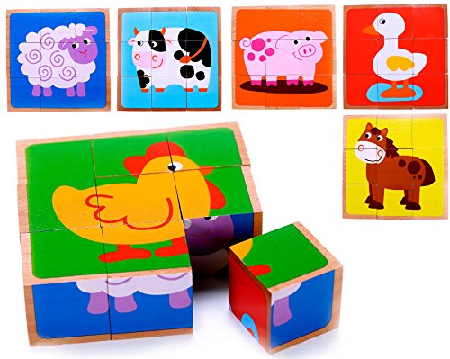 Farm Animal Wooden Cube Block Puzzle for Kids, Toddlers, Preschool Age | 6 Barnyard Puzzles in One | Educational Toy 3 Year Olds & Up - Baby Animals Block Puzzle