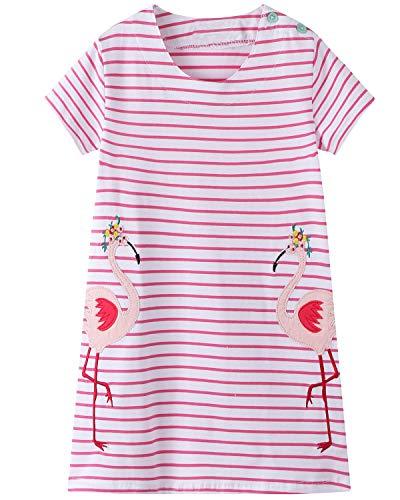 Little Girls Cotton Dress Short Sleeves Casual Summer Shirt Toddler Girls Summer Dresses Outfit 4t]()