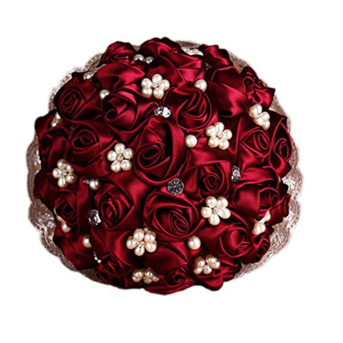 [Mollybridal Romantic Pearls Crystal Lace Wedding Bridal Bouquets Silk Roses Flowers Burgundy] (Burgundy Bridal Bouquet)