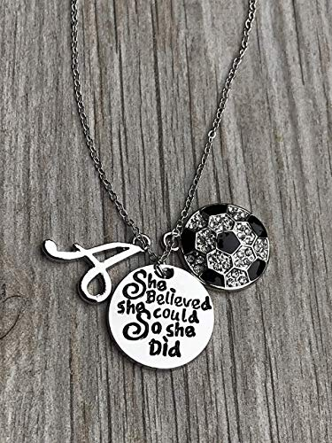 Soccer She Believed She Could So She Did Necklace with Letter Charm, Girls Custom Soccer Jewelry Gifts for Soccer Players & Teams (Custom Soccer Necklace)