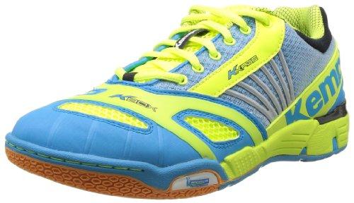 Kempa Hurricane 2008469 - Zapatillas de balonmano de caucho para hombre, color azul, talla 41 EU (7.5 Herren UK) Azul (Blau (cyan/fluo gelb/schwarz 02))
