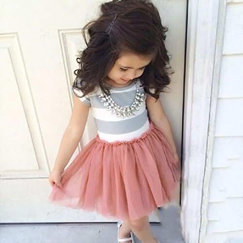 Dress,BeautyVan Fashion Beautiful Girls Summer Striped Dress (6-7Y, PINK)