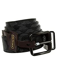 COACH F64839 CUT-TO-SIZE REVERSIBLE SIGNATURE COATED CANVAS BELT, CHARCOAL/BLACK