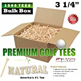 "1000 Piece 3 1/4"" Golf Tees Bulk Box - Natural - (PREMIUM BRAND by JP Lann First Quality Natural Wood Tees)"