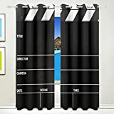 Ethel Ernest Cool Movie Reel Film Board Window Blackout Curtains With Grommet, 55W x 84L Inch, Darkening Blind Insulated Sun-proof Curtains for Bedroom,Living Room,Including 2 Panels
