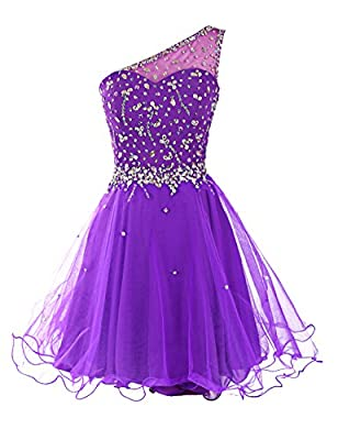 Dresstells Short One Shoulder Prom Dresses Tulle Homecoming Dress with Beads