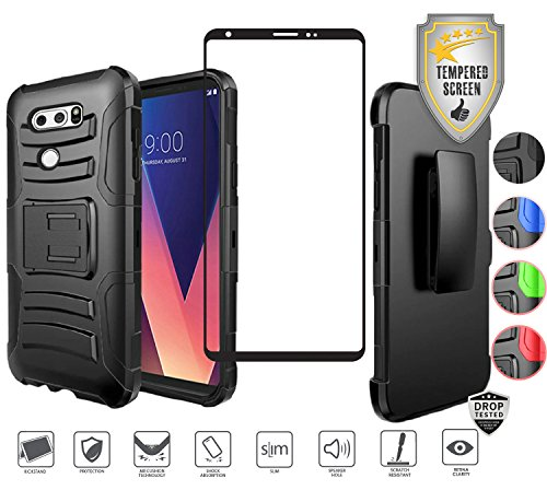 LG V30 Case, LG V30 Plus Case, LG V35 ThinQ case with Tempered Glass Screen Protector, Heavy Duty Rugged Holster Combo [Kickstand] [Belt Clip] [Swivel Clip] Hybrid Shockproof Cover (Black/Black)