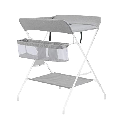 QZ Folding Baby Changing Table, Ideal For Traveling, Baby Storage Station,  Metal Linen