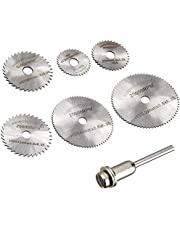 7 pcs HSS Mini Circular Saw Blades Set with 1/8 inch Straight Shank Mandrel for Dremel Fordom Electrical Grinding Machine Rotary Tool