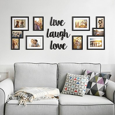 Photo Frame Crafted With A Beautiful Satin Black Finish Includes 3 Descriptive Word Plaques