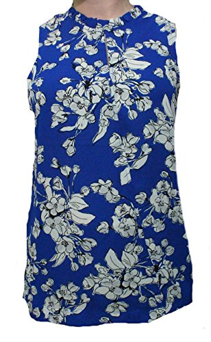 Print Matte Jersey Top (Ivanka Trump Blue Print Matte Jersey Top With Hardware)