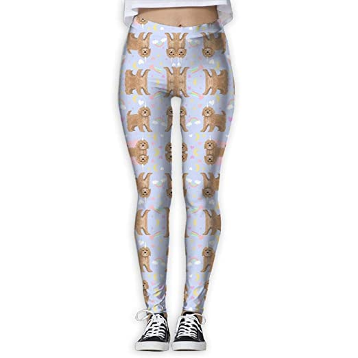 8fdbcb2db9 Women's Cavoodle Pastel Unicorn Magic Cute Cavapoo Patter Activewear  High-Waist Tights Leggings Yoga Pants at Amazon Women's Clothing store: