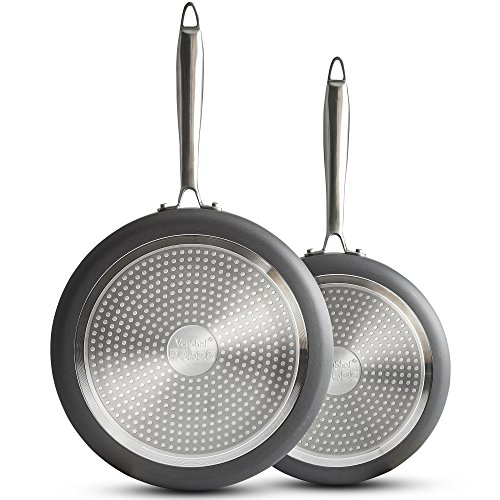 (VonShef Premium Hard Anodized Aluminum Frying Pan Set, 9.5 Inch and 11 Inch Twin Fry Pan Set With Nonstick Interior, 2 Piece, Gray)