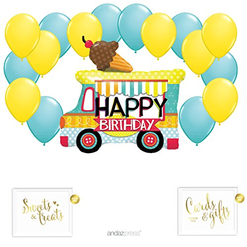 Andaz Press Balloon Party Kit with Gold Ink Signs, Ice Cream Truck with Yellow and Diamond Blue Latex Balloons, 19-Piece Kit (Yellow Gold Ice Cream)