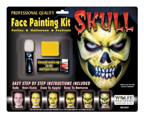 Wolfe Skull Face Painting Kit 2 (Skull Face Painting For Halloween)