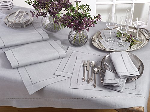 SARO LIFESTYLE Classic Hemstitiched Border Table Runner, 16'' x 120'', Grey by SARO LIFESTYLE (Image #2)