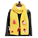 ZSY FOR U Kintted Scarves,Unisex Winter Warmer O Ring Neck Scarf wrap Free Colors With Hat Decoration (yellow)