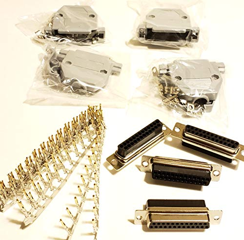Connectors Pro 4 Sets Crimp Type DB25 Female + Plastic Hoods + Pins Set, D-Sub 25P Female Crimp Connector, Pin & Hood Kit (4 DB25 Female + 4 Hoods + 100 Pins)