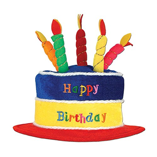 Club Pack of 12 Bright Multi-Colored Plush ''Happy Birthday'' Cake Party Hats by Party Central