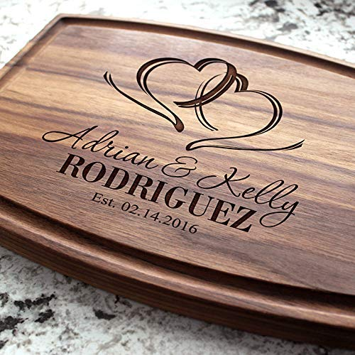 (Two Hearts Wedding Personalized Cutting Board - Engraved Cutting Board, Custom Cutting Board, Wedding Gift, Housewarming Gift, Anniversary.)