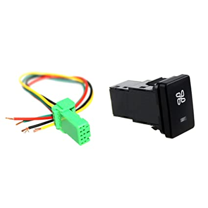 amazon com: flameer 4-pole 12v push button switch with blue led background  indicator lights for toyota - fan pattern: automotive