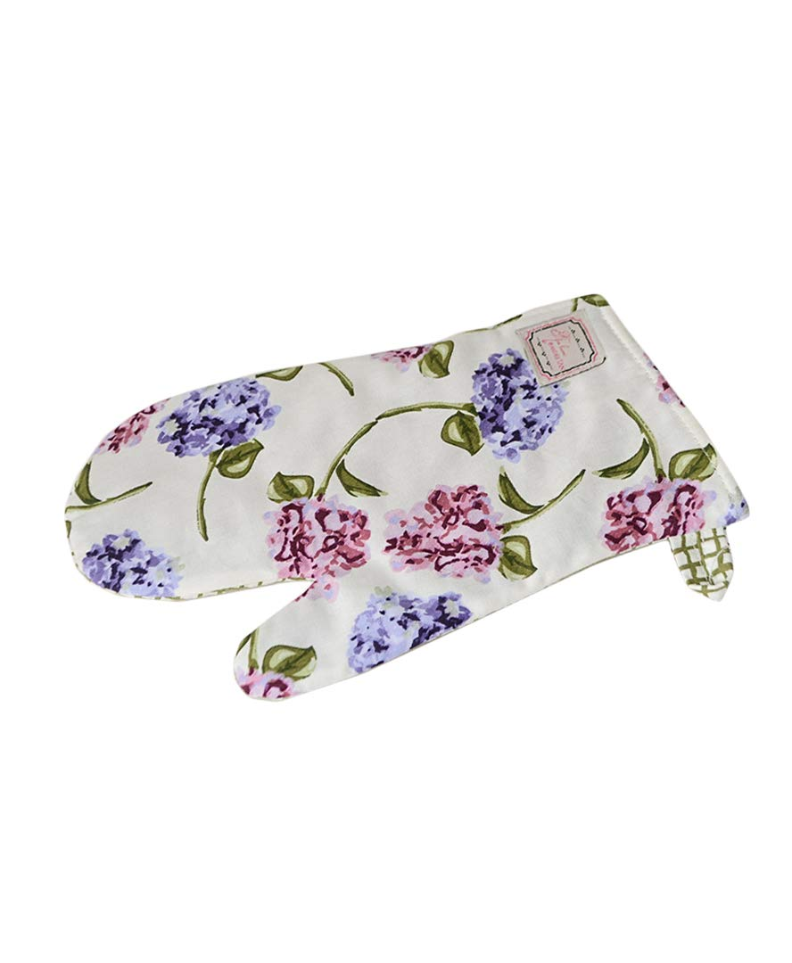 Provence 100% Cotton Oven Mitt with Fridge Magnet Holder for Cooking, Baking, Purple Garden Flowers