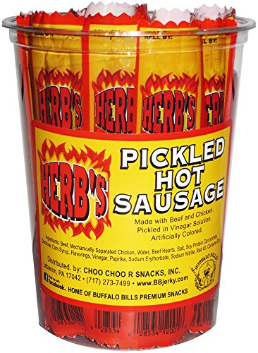 - Herb's Pickled Hot Sausages 0.7oz Individually Wrapped - 24-ct Pickled Hot Sausages Per Cup