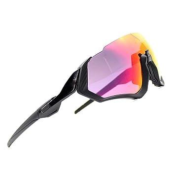 2018 Kit de Gafas de Sol Ciclismo 3LS Revo + polarizado + Transparente (Marco Negro + Lente roja): Amazon.es: Deportes y aire libre