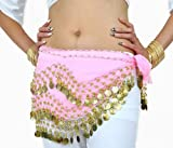 H:oter Chiffon Dangling Gold Coins Belly Dance Hip Scarf from H:oter